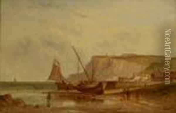 Fishing Village At Low Tide Oil Painting - Alfred Pollentine