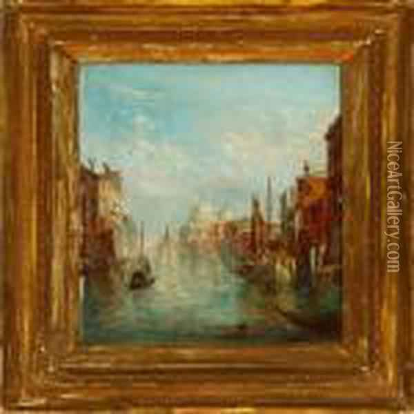 Two Canal Sceneriesfrom Venezia With Santa Maria Della Salute Oil Painting - Alfred Pollentine