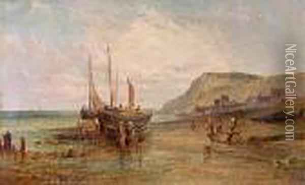 Beached Fishing Boats, Low Tide. Oil Painting - Alfred Pollentine