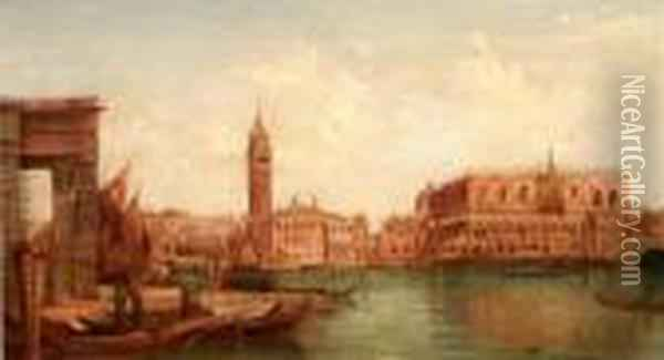 Venice' And 'the Giudecca Canal Oil Painting - Alfred Pollentine