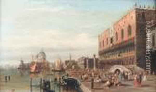 View Of The Grand Canal, Venice With The Doge's Palace And Santa Maria Della Salute Oil Painting - Alfred Pollentine