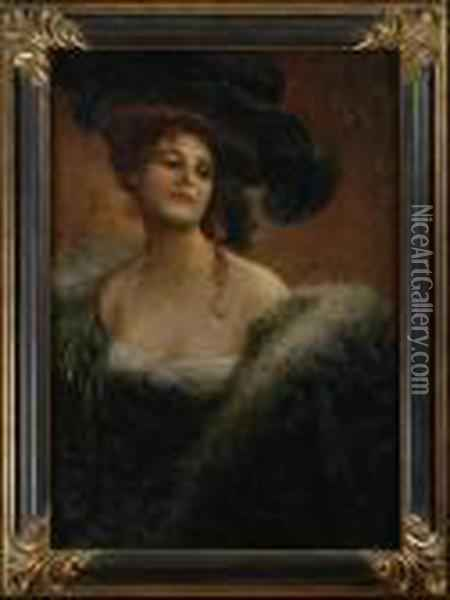 Portrait Of A Woman In A Large Hat Oil Painting - Luca Postiglione