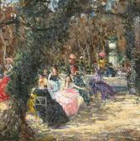 Elegant Figures Seated At Tables In A Garden Oil Painting - Luca Postiglione