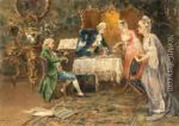 An Afternoon Tea Recital Oil Painting - Luca Postiglione