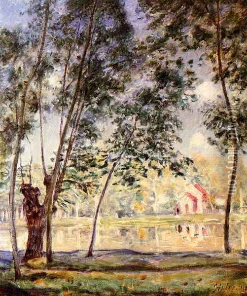 Sunny Afternoon - Willows by the Loing Oil Painting - Alfred Sisley