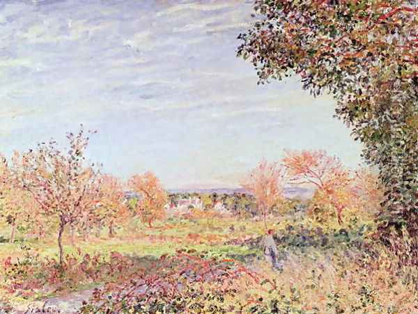 September Morning, c.1887 Oil Painting - Alfred Sisley
