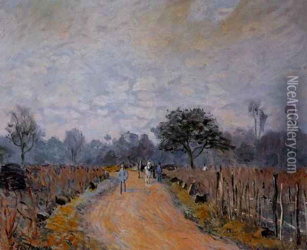 The Road from Prunay to Bougival Oil Painting - Alfred Sisley