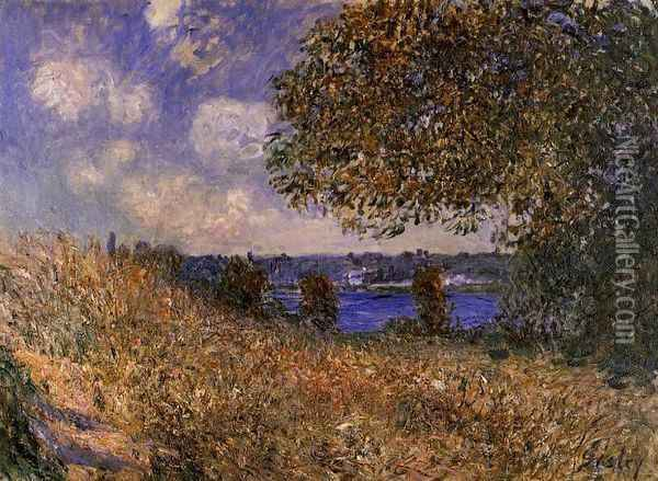 Near the Bank of the Seine at By Oil Painting - Alfred Sisley