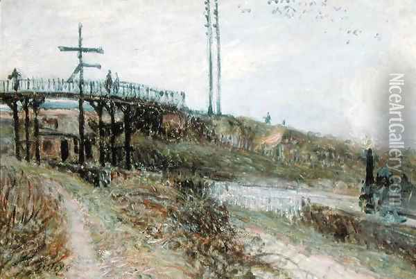 The Footbridge over the Railway at Sevres, c.1879 Oil Painting - Alfred Sisley