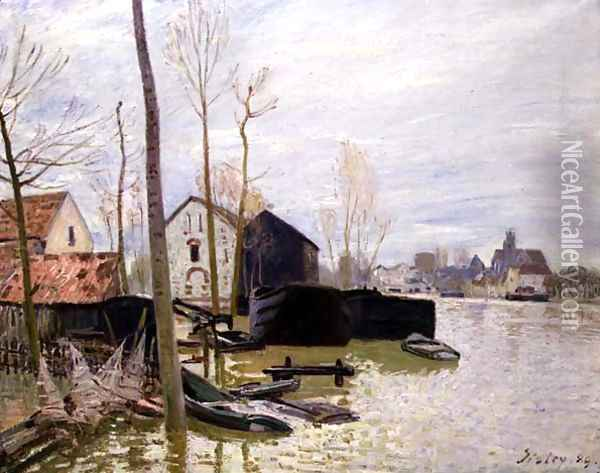The Floods at Moret-sur-Loing, 1889 Oil Painting - Alfred Sisley