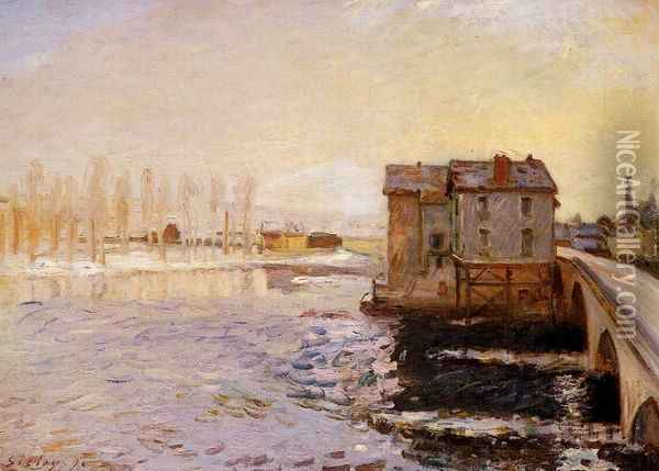 The Moret Bridge and Mills under Snow Oil Painting - Alfred Sisley