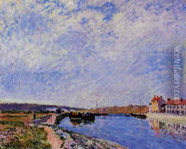 The Barge Port and Saint-Mammes Oil Painting - Alfred Sisley