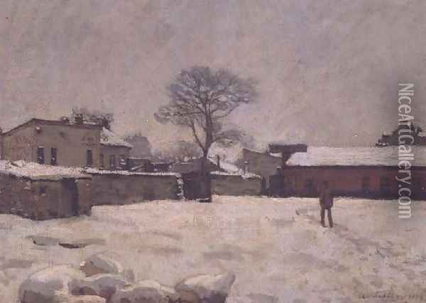 Under Snow: the farmyard at Marly-le-Roi, 1876 Oil Painting - Alfred Sisley