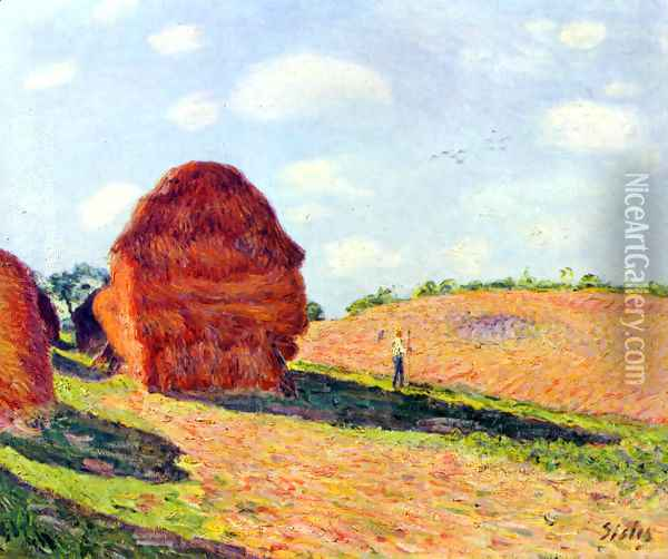 The straw rents Oil Painting - Alfred Sisley