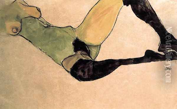 A woman nude body Oil Painting - Egon Schiele