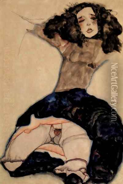Black-haired girl with high skirt Oil Painting - Egon Schiele