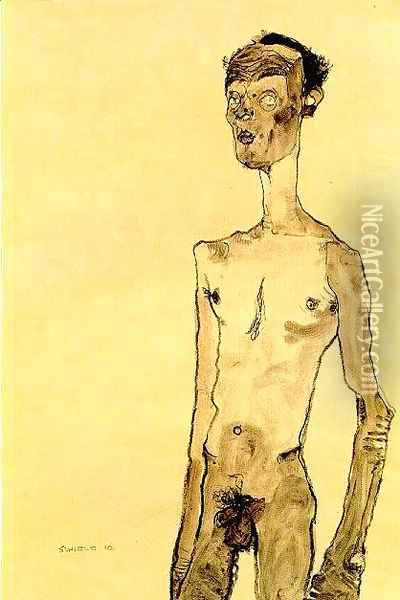Standing nude man Oil Painting - Egon Schiele