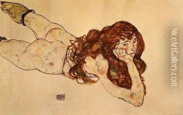 Female Nude Lying On Her Stomach Oil Painting - Egon Schiele