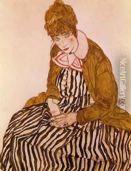 Edith Schiele Seated Oil Painting - Egon Schiele
