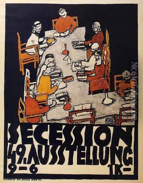 Forty Ninth Secession Exhibition Poster Oil Painting - Egon Schiele