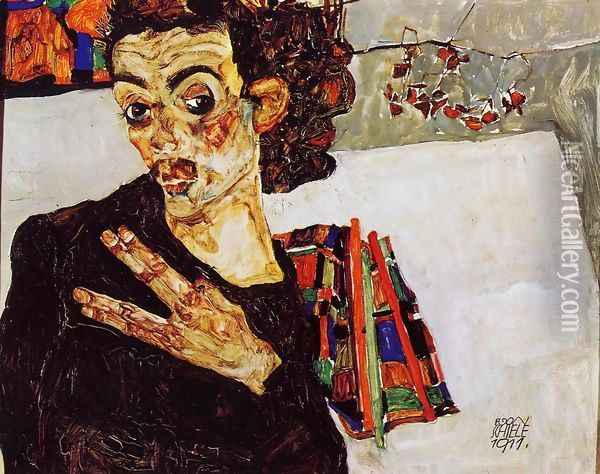 Self Portrait With Black Vase And Spread Fingers Oil Painting - Egon Schiele