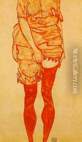 Standing Woman In Red Oil Painting - Egon Schiele