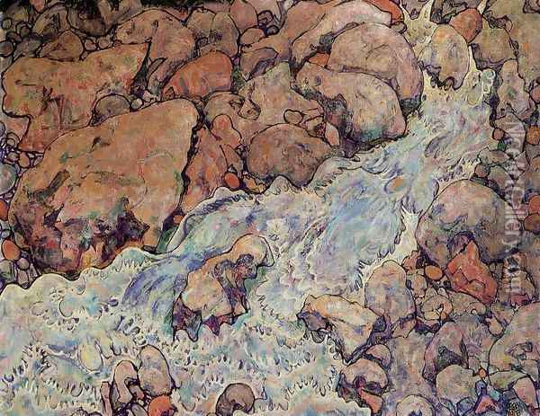 Mountain Torrent Oil Painting - Egon Schiele