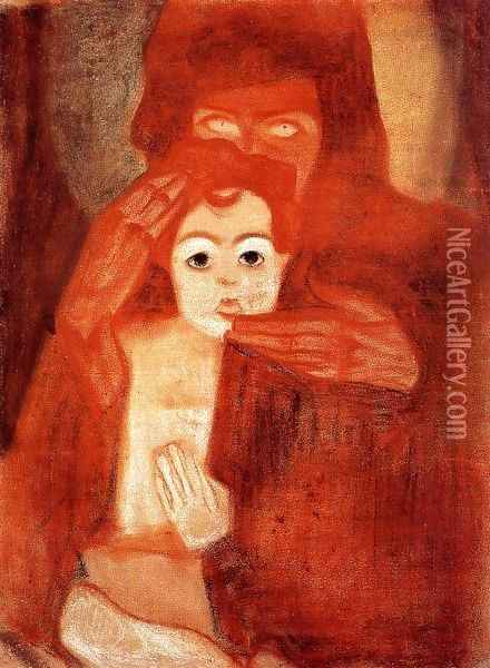 Mother And Child Aka Madonna Oil Painting - Egon Schiele