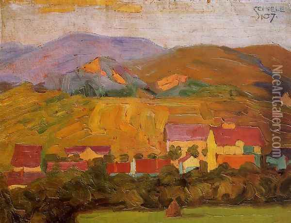 Village With Mountains Oil Painting - Egon Schiele