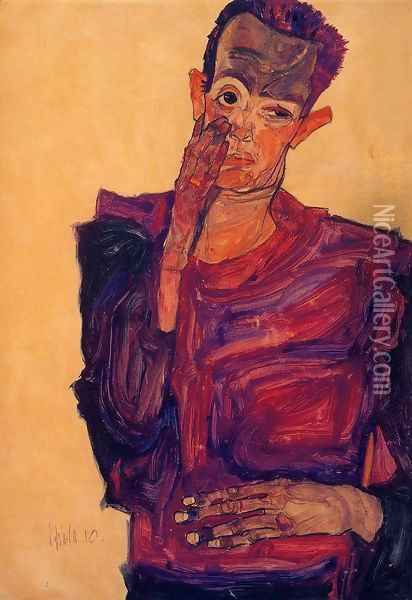Self Portrait With Hand To Cheek Oil Painting - Egon Schiele