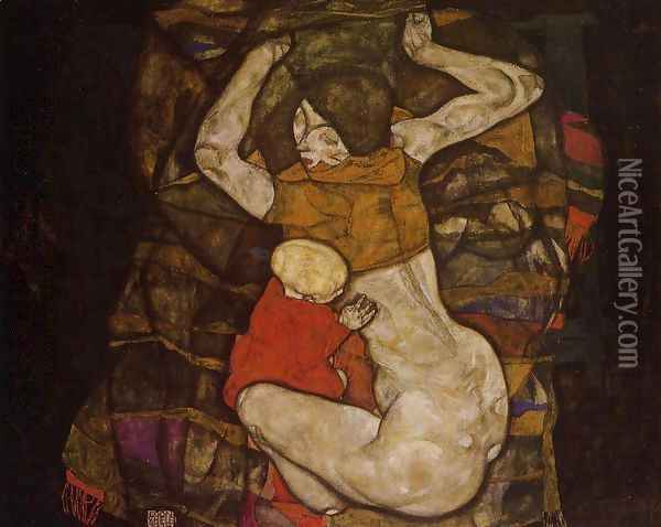 Young Mother Oil Painting - Egon Schiele