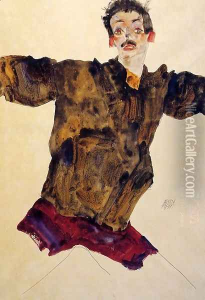 Self Portrait With Outstretched Arms Oil Painting - Egon Schiele
