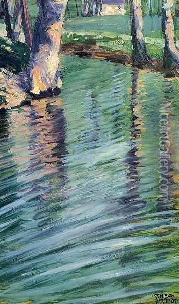 Trees Mirrored In A Pond Oil Painting - Egon Schiele