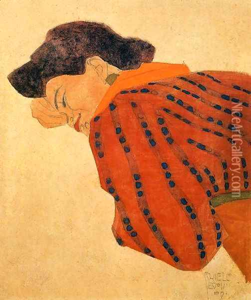Reclining Woman With Red Blouse Oil Painting - Egon Schiele