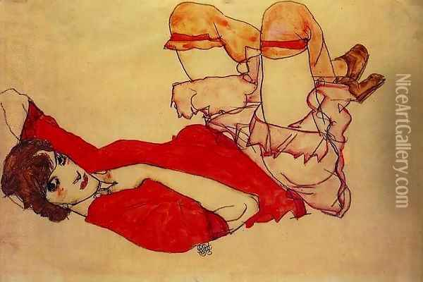 Wally in Red Blouse Oil Painting - Egon Schiele