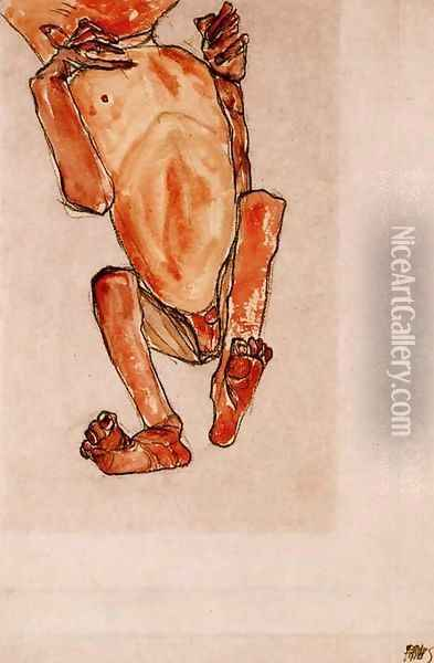 Nude baby Oil Painting - Egon Schiele