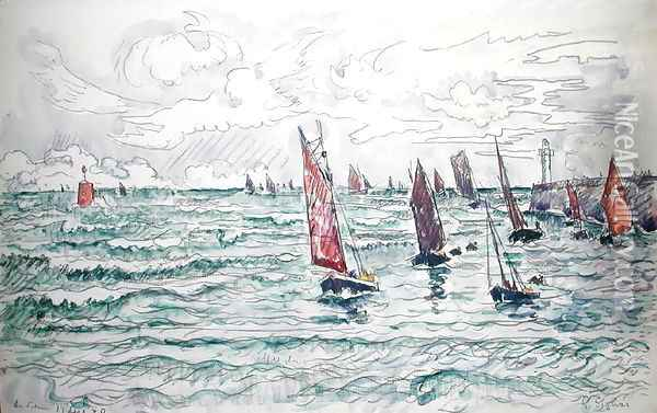Audierne, Return of the Fishing Boats, 1930 Oil Painting - Paul Signac
