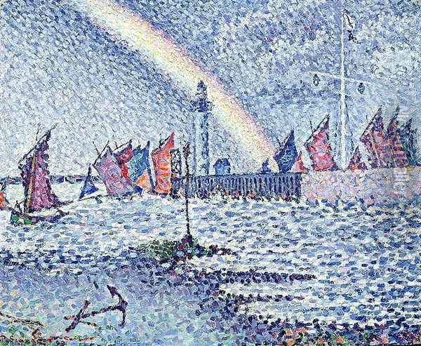 Entrance to the Port of Honfleur, 1899 Oil Painting - Paul Signac