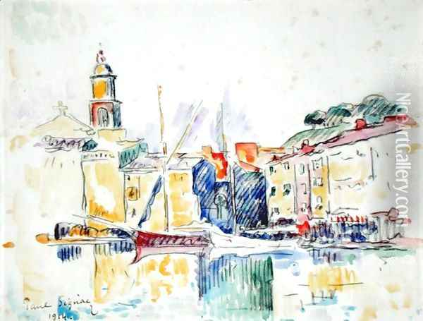 French Port of St. Tropez, 1914 Oil Painting - Paul Signac