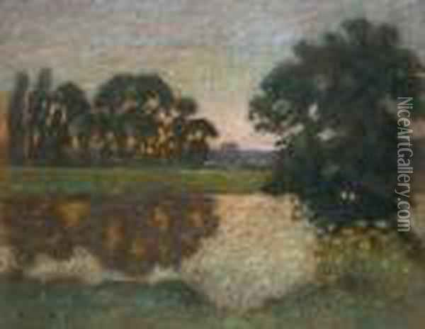 Sunset On The River Oil Painting - Pierre Ernest Prins