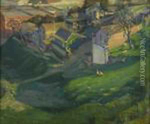 French Landscape Oil Painting - Pierre Ernest Prins