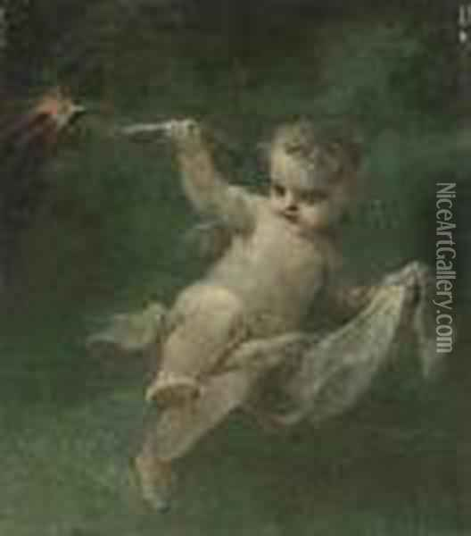 A Putto Holding A Torch Oil Painting - Pierre-Paul Prud'hon