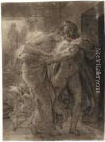 A Couple Embracing, With Cupid Tugging At The Woman's Skirts Oil Painting - Pierre-Paul Prud'hon