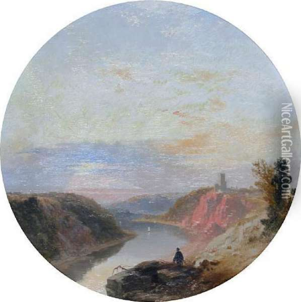 Man Before A Landscape Overlooking A River, Thought To Be The River Avon At Clifton Oil Painting - James Baker Pyne