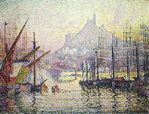 View Of The Port Of Marseilles Oil Painting - Paul Signac