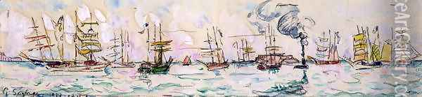 The Departure of the Fishing Trawlers to Newfoundland, 1928 Oil Painting - Paul Signac