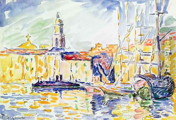 The Harbour at St. Tropez, c.1905 Oil Painting - Paul Signac