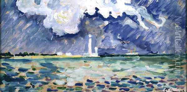 The Lighthouse at Gatteville Oil Painting - Paul Signac