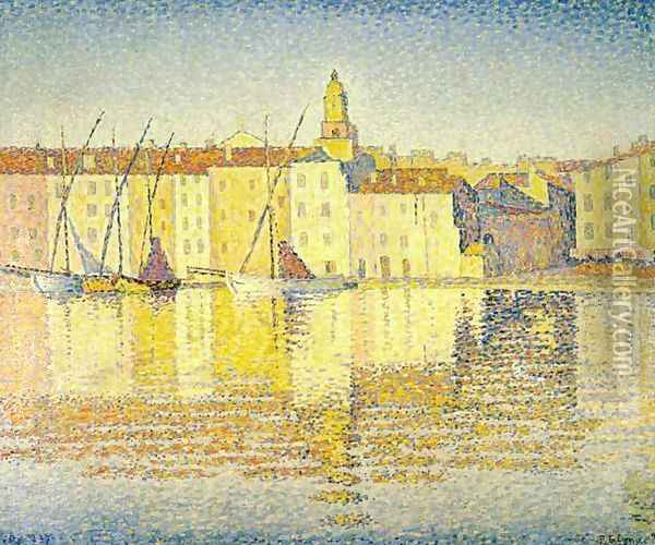 Houses in the Port of Saint-Tropez Oil Painting - Paul Signac