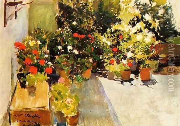 A Rooftop with Flowers Oil Painting - Joaquin Sorolla Y Bastida